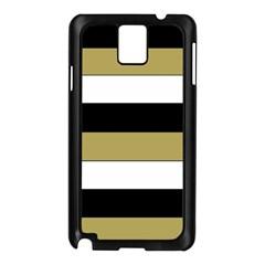 Black Brown Gold White Horizontal Stripes Elegant 8000 Sv Festive Stripe Samsung Galaxy Note 3 N9005 Case (Black)