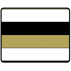 Black Brown Gold White Horizontal Stripes Elegant 8000 Sv Festive Stripe Double Sided Fleece Blanket (Medium)