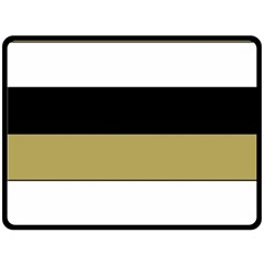 Black Brown Gold White Horizontal Stripes Elegant 8000 Sv Festive Stripe Double Sided Fleece Blanket (Large)