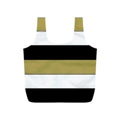Black Brown Gold White Horizontal Stripes Elegant 8000 Sv Festive Stripe Full Print Recycle Bags (S)
