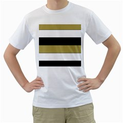 Black Brown Gold White Horizontal Stripes Elegant 8000 Sv Festive Stripe Men s T-Shirt (White)