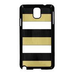 Black Brown Gold White Horizontal Stripes Elegant 8000 Sv Festive Stripe Samsung Galaxy Note 3 Neo Hardshell Case (Black)