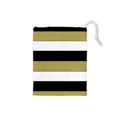 Black Brown Gold White Horizontal Stripes Elegant 8000 Sv Festive Stripe Drawstring Pouches (Small)