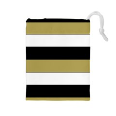 Black Brown Gold White Horizontal Stripes Elegant 8000 Sv Festive Stripe Drawstring Pouches (Large)