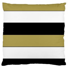 Black Brown Gold White Horizontal Stripes Elegant 8000 Sv Festive Stripe Large Flano Cushion Case (One Side)