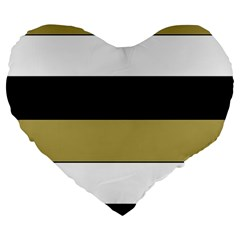 Black Brown Gold White Horizontal Stripes Elegant 8000 Sv Festive Stripe Large 19  Premium Flano Heart Shape Cushions