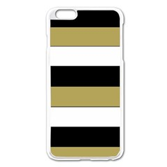 Black Brown Gold White Horizontal Stripes Elegant 8000 Sv Festive Stripe Apple iPhone 6 Plus/6S Plus Enamel White Case