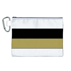 Black Brown Gold White Horizontal Stripes Elegant 8000 Sv Festive Stripe Canvas Cosmetic Bag (L)