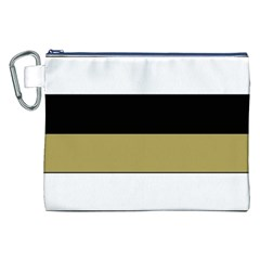 Black Brown Gold White Horizontal Stripes Elegant 8000 Sv Festive Stripe Canvas Cosmetic Bag (XXL)