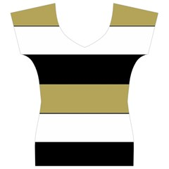 Black Brown Gold White Horizontal Stripes Elegant 8000 Sv Festive Stripe Women s V-Neck Cap Sleeve Top