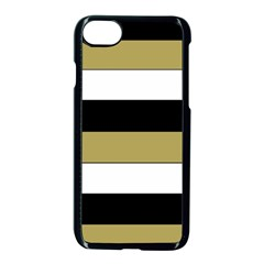 Black Brown Gold White Horizontal Stripes Elegant 8000 Sv Festive Stripe Apple Iphone 7 Seamless Case (black)