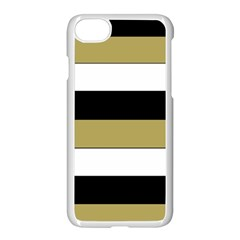Black Brown Gold White Horizontal Stripes Elegant 8000 Sv Festive Stripe Apple Iphone 7 Seamless Case (white)