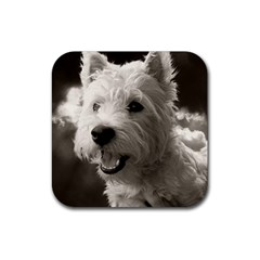 Westie.puppy 4 Pack Rubber Drinks Coaster (Square)