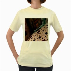 Industry Fractals Geometry Graphic Women s Yellow T-Shirt