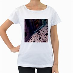 Industry Fractals Geometry Graphic Women s Loose-Fit T-Shirt (White)