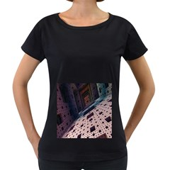 Industry Fractals Geometry Graphic Women s Loose-Fit T-Shirt (Black)