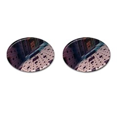Industry Fractals Geometry Graphic Cufflinks (Oval)