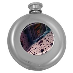 Industry Fractals Geometry Graphic Round Hip Flask (5 oz)