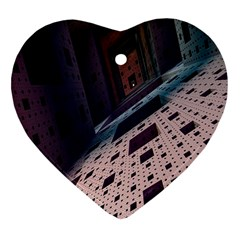 Industry Fractals Geometry Graphic Heart Ornament (2 Sides)