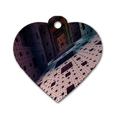 Industry Fractals Geometry Graphic Dog Tag Heart (One Side)