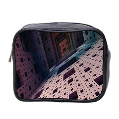 Industry Fractals Geometry Graphic Mini Toiletries Bag 2-Side