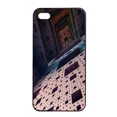 Industry Fractals Geometry Graphic Apple iPhone 4/4s Seamless Case (Black)