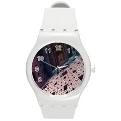 Industry Fractals Geometry Graphic Round Plastic Sport Watch (M)