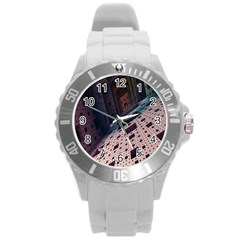 Industry Fractals Geometry Graphic Round Plastic Sport Watch (L)