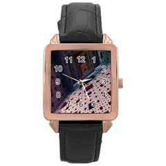 Industry Fractals Geometry Graphic Rose Gold Leather Watch