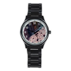 Industry Fractals Geometry Graphic Stainless Steel Round Watch