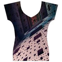 Industry Fractals Geometry Graphic Women s V-Neck Cap Sleeve Top