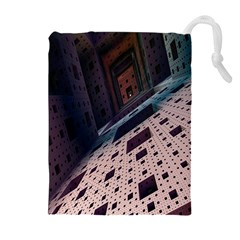 Industry Fractals Geometry Graphic Drawstring Pouches (Extra Large)