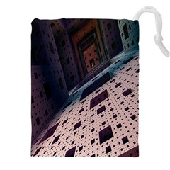 Industry Fractals Geometry Graphic Drawstring Pouches (XXL)