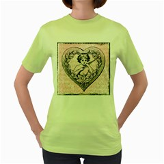 Heart Drawing Angel Vintage Women s Green T-Shirt