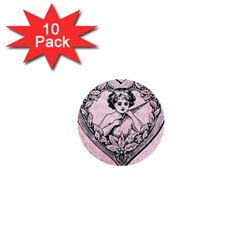 Heart Drawing Angel Vintage 1  Mini Buttons (10 pack)