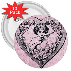 Heart Drawing Angel Vintage 3  Buttons (10 pack)