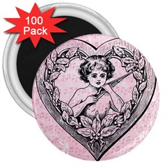 Heart Drawing Angel Vintage 3  Magnets (100 pack)