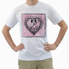 Heart Drawing Angel Vintage Men s T-Shirt (White) (Two Sided)