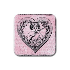 Heart Drawing Angel Vintage Rubber Coaster (Square)