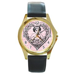 Heart Drawing Angel Vintage Round Gold Metal Watch