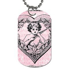 Heart Drawing Angel Vintage Dog Tag (One Side)