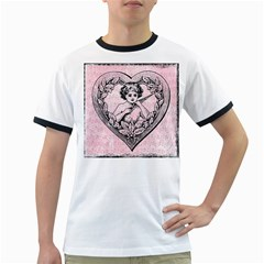 Heart Drawing Angel Vintage Ringer T-Shirts