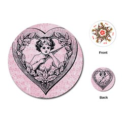 Heart Drawing Angel Vintage Playing Cards (Round)