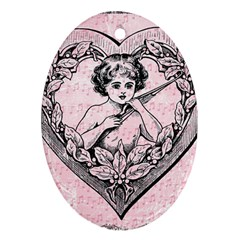 Heart Drawing Angel Vintage Oval Ornament (Two Sides)