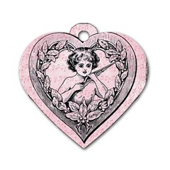 Heart Drawing Angel Vintage Dog Tag Heart (Two Sides)