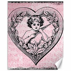 Heart Drawing Angel Vintage Canvas 11  x 14