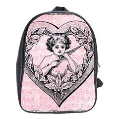 Heart Drawing Angel Vintage School Bags(Large)