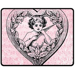 Heart Drawing Angel Vintage Fleece Blanket (Medium)