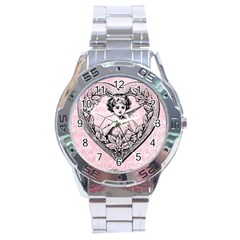 Heart Drawing Angel Vintage Stainless Steel Analogue Watch