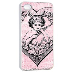 Heart Drawing Angel Vintage Apple iPhone 4/4s Seamless Case (White)